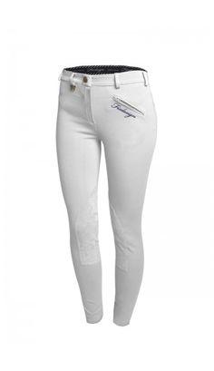 Pantalone in maglia di cotone patch in suede, logo stampato sulla tasca e sul retro - Fixdesign Horse Riding Shop