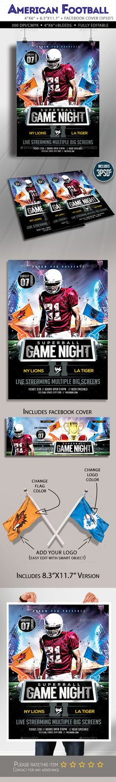 American Football Flyer American football, Flyer template and - sports flyer template