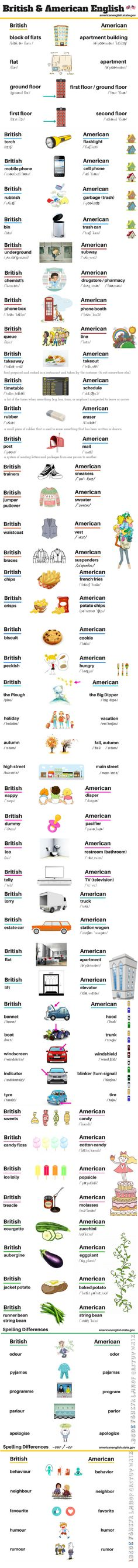 Educational infographic & data visualisation This Infographic Shows You The Different Between British and American English Infographic Description Check English Time, English Study, English Class, English Words, English Lessons, English Grammar, Learn English, English Language, English Resources