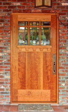 Prairie School Art Glass by Theodore Ellison Designs - Door by The Craftsman Door Company Craftsman Front Doors, Craftsman Exterior, Craftsman Style Homes, Craftsman Bungalows, Exterior Doors, Interior And Exterior, Exterior Design, Home Door Design, House Design