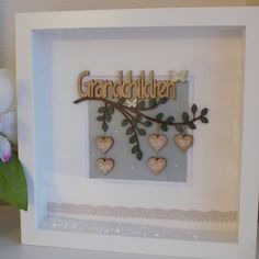 Your place to buy and sell all things handmade Christmas Box Frames, Family Tree Frame, New Grandparents, White Box Frame, Grandparent Gifts, Wooden Hearts, Baby Girl Gifts, Wooden Letters, Thank You Gifts
