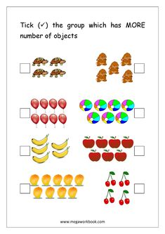 Comparing Numbers Worksheet (More or Less, Greater Than Less Than) - Mark/Circle The Group With More Number of Objects to Number Worksheets Kindergarten, Free Printable Math Worksheets, Subtraction Worksheets, Printable Numbers, Comparing Numbers Worksheet, Math For Kids, Kids Work, More And Less, Craft