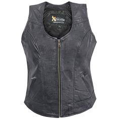 Xelement Women's B-21519 Biker Leather Vest - has interior pocket