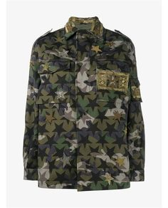 VALENTINO Camo Stars Jacket with Patches and Embellishment