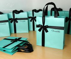 Birthday gift bags with satin ribbon, bow & custom name - Personalized Mint and Black Tiffany themed party gifts and favors for guests Wedding Welcome Bags, Wedding Favor Bags, Party Favor Bags, Diy Wedding Favors, Wedding Souvenir, Favor Boxes, Goody Bags, Tiffany Party, Tiffany Theme