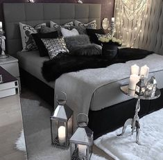 Luxurious Black & Grey Bedroom with Silver Accents!