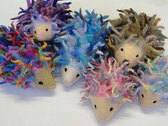 Needle Felt Kids Craft Kit to make 3D Multicoloured hedgehogs by artfeltuk