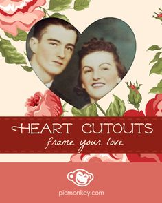 Our Heart Cutouts frame makes it easy to create a photo valentine. Try it with a pattern, color or transparent background. Don't forget you can change the heart size and angle and even move the heart around to get it just right.