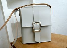 CHICPale grey duck egg leather strong satchel by HenandTillLeather, £82.00
