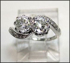 """I didn't know of such a thing-now must have! """"Toi et Moi"""" ring  1890's Edwardian 2.11ct Antique Old European cut Diamond Crossover """"Toi et Moi"""" Engagement Ring 18K Gold"""
