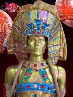 CHARISMATICO-Male-Blue-metallic-gold-glitter-sequin-Egyptian-pharaoh-headdress