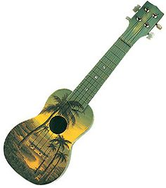 Daydreaming about possible ukulele designs for my own uke! Here is a beautiful oil painted Ukulele measuring 18 inches depicting a Hawaiian sunset with beautiful palm trees.  Check out the picture for more details.    Wooden Ukuleles bring a vintage essence to your Hawaiian gift collection or your next Luau party.  GREAT GIFT IDEA!