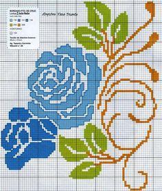 ponto-cruz-flores-cross-stitch-rosa-azul-500x400 78 gráficos de flores em ponto cruz para imprimir