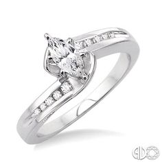 1/2 Ctw Diamond Engagement Ring with 1/4 Ct Marquise Cut Center Stone in 14K White Gold