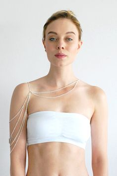 Pride 925 Sterling Silver Plated Shoulder chain, body chain jewelry, Rihanna, Beyonce, Miley Cyrus Body chain, beach body chain