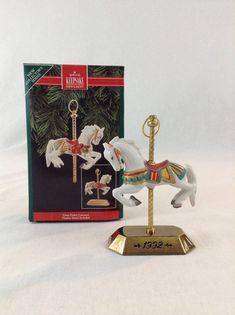 Hallmark Keepsake 1992 Tobin Fraley Carosel Horse With Stand Christmas Ornament