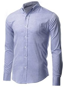 FLATSEVEN Men's Slim Fit Oxford Button Down Casual Shirt Long Sleeve (SH611) Blue, M FLATSEVEN #casual #mens slim fit #menswear #mens fashion #mens clothes #Denim