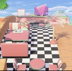 Pool partyyy 🥰✨ i LOOOVE the palm tree lamps and i find it so amazing that we can customize them to pink ✨ i created a cute playground area… Pink Restaurant, Pink Island, Animal Crossing Guide, Spring Animals, Motifs Animal, American Diner, Pixel Art, Stargazing, Geek Stuff