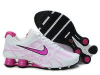 chaussures nike shox turbo+noir cuir femme (blanc/rose) pas cher en ligne.