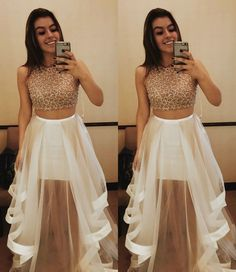 Princess Prom Dress, Two Piece Jewel Sleeveless Tiered White Prom Dress with Beading, An engrossing 2020 prom gown is usually a long flowing dress usually worn to a formal affair showing the elegant and ethereal. Prom Dresses For Teens, Best Prom Dresses, Pink Prom Dresses, Tulle Prom Dress, Popular Dresses, Homecoming Dresses, Formal Dresses, Formal Wear, Party Dresses
