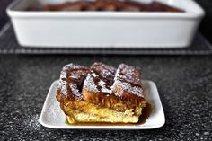 a striated baked cinnamon toast serving - Smitten Kitchen. She makes cinnamon toast, and then makes that into French Toast! Breakfast And Brunch, Breakfast Cassarole, Sunday Brunch, Breakfast Recipes, Breakfast Ideas, Morning Breakfast, Sunday Morning, Smitten Kitchen Cookbook, Test Kitchen
