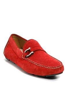 Salvatore Ferragamo red suede driving shoes