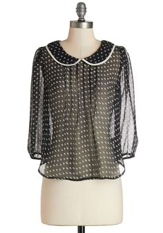 Housemate Date Top. Gather friends from each suite and declare a front porch party wearing this sheer black blouse. #black #modcloth