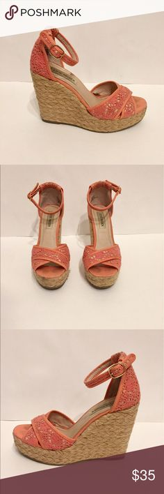 Steve Madden Knit Coral Wedges Steve Madden Knit Coral Wedges, size 7, WORN ONCE for high school prom. Great for formal events, spring/summer events Steve Madden Shoes Wedges