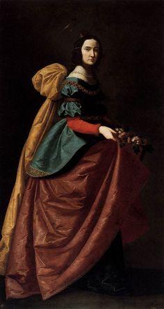 Francisco de ZURBARÁN St Elizabeth of Portugal 1638-42 Oil on canvas, 184 x 90 cm Museo del Prado, Madrid