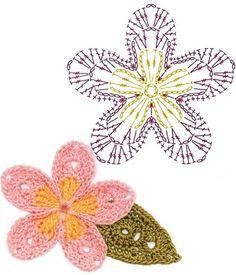 Watch The Video Splendid Crochet a Puff Flower Ideas. Wonderful Crochet a Puff Flower Ideas. Crochet Puff Flower, Crochet Flower Tutorial, Crochet Leaves, Crochet Flower Patterns, Crochet Flowers, Crochet Diagram, Crochet Chart, Crochet Motif, Diy Crochet