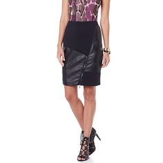 NENE by NeNe Leakes Fab Faux Leather and Ponte Skirt