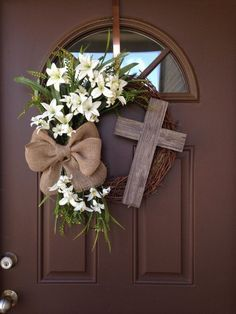 Easter Wreath with Cross - Rustic Grapevine Easter Wreath with Burlap Bow - Easter Decorations- Easter Decor - Easter Front Door Wreath, Spring decor, Spring wreath, home decor Diy Wreath, Door Wreaths, Grapevine Wreath, Wreath Ideas, Wreath Fall, Spring Wreaths, Ornament Wreath, Rustic Cross, Burlap Cross