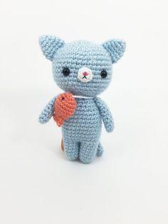 Crocheted Kitten with Dead Fish Crochet Cat Crochet by MossyMaze