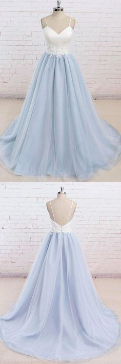 Spaghetti Straps Sweep Train Backless Lavender Tulle Prom Dress PG498 #prom #dress #lavender