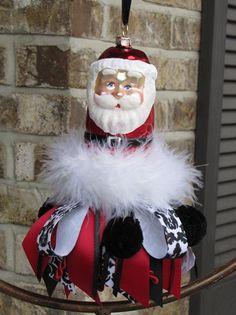 Glass Santa / Christmas Decorative Tassel by SassyBunnyBowtique, $23.00
