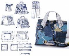 Jeans Bag Patterns: 12 Amazing Recycled Jeans Bags With Patterns scroll down. Want to know how to make a bag from old ill-fitting jeans? Check out these inspiration denim bags with usefull patterns and you can tra. Artisanats Denim, Denim Purse, Diy Jeans, Mochila Jeans, Jean Purses, Denim Ideas, Denim Crafts, Recycled Denim, Handmade Bags