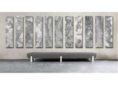 Steel Abstract Paintings / CUSTOM 11 painting set / 48x12  / Oversized Industrial Painting/  Metal Wall Art / Steel, silver