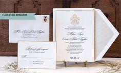 Love the print / script layout and the fleur de lis on top! New Orleans Wedding Invitation Scriptura