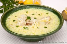 CIORBA-DE-PUI-A-LA-GREC Cream Soup, Greek Recipes, Cheeseburger Chowder, Hummus, Stew, Bacon, Food And Drink, Cooking, Ethnic Recipes