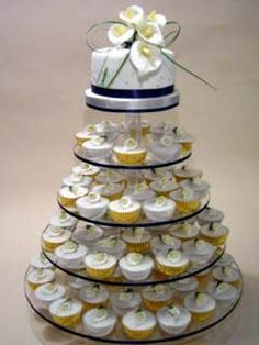 Great display idea - small cake for the cake cutting (it's even got navy blue!) and then cupcakes for the guests! :)