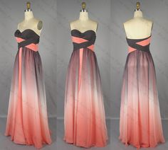 Gradient Chiffon Prom DressBridesmaid Dress A Line by MiLanFashion, $163.00