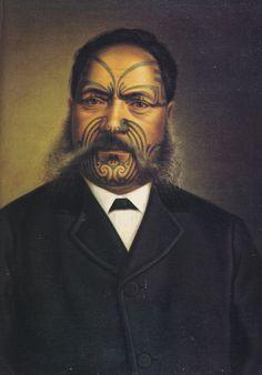 Hori Ngakapa Te Whanaunga by Gottfried Lindauer Maori Face Tattoo, Ta Moko Tattoo, Maori Tattoos, Auckland Art Gallery, Maori People, Popular Paintings, Japanese Warrior, Maori Tattoo Designs, Nz Art