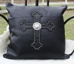 Raviani Black Genuine Italian Leather Cross and Concho Pillow $199.95 www.gugonline.com