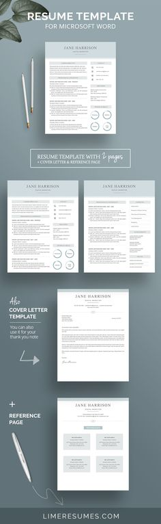 CV template with matching cover letter \ reference page Etsy - reference page resume template