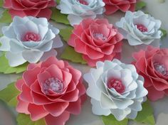 Paper Flowers  Handmade  Elizabeth Rose  Set by morepaperthanshoes, $25.00