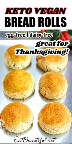 Perfect for the holiday table or sandwiches, Keto Vegan Bread Rolls are a great egg-free, dairy-free roll for all your bread needs, with a nut-free option. | Eat Beautiful Recipes | ketogenic | keto holiday rolls | keto holiday recipes | keto egg-free bread | keto vegan bread | keto vegan rolls | keto vegan dinner rolls | keto vegan recipes | keto bread dairy free | low carb vegan bread | keto bread egg free dairy free | keto vegan bread rolls || #keto #vegan #bread #rolls #holiday