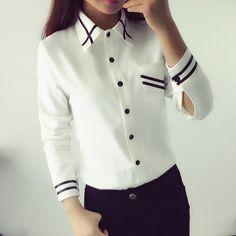 Blusas de las mujeres de Nueva Llegada de La Manera 2017 Otoño Estilo Coreano de Manga Larga Con Lentejuelas Gasa de Las Señoras de Oficina Camisa Blanca Azul Tops Formales