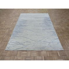 Hand Knotted Ivory Modern with Silk Blend Rug