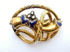 RARE Antique Eternal Knot 14k Gold Pendant Brooch Enamel 9 3 grams Victorian | eBay