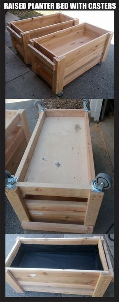 "Raised garden planter boxes on wheels / casters - Size is 2' x 4' each, just over 2'ft 4"" tall with the casters installed on the bottom. Soil depth container is 12"" and the bottom shelf has about 3"" of clearance to hold drain water trays. An excellent present for some one with a small garden so that they can move them around with the seasons."